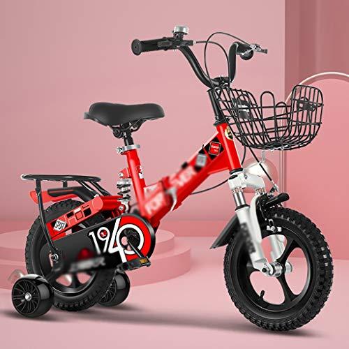 GAIQIN Durable Bicicleta para niños Plegables con Ruedas de Entrenamiento para niñas de 3-9 años, estabilizantes, Asiento Ajustable, Guardabarros Negro (Color : Red, Size : 14inch)