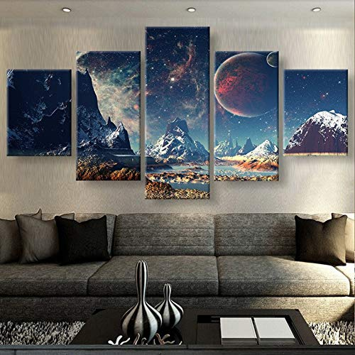 ganlanshu Rahmenlose Malerei 5 Stücke Leinwandmalerei Berg- und Weltraum-Leinwanddrucke Heimdekoration Rahmenlose Malerei Wohnzimmer artZGQ4035 20x35cmx2, 20x45cmx2, 20x55cmx1