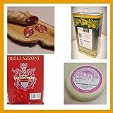 Idea Regalo 202, salame fabriano 650 gr, formaggio pecorino 1,8 kg, olio evo extra vergine di oliva 3 lt, vino rosso bag in box 5 lt, prodotto tipico marchigiano
