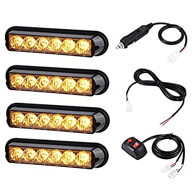 AT-HAIHAN 4 in 1 Amber Surface Mount Grill Light Head, 6W Bright LED Mini Strobe Lightbar for POV, Utility Vehicle, Construction Vehicle and Tow Truck Van