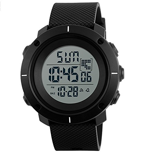 SKMEI Orologio Uomo Sportivo Impermeabile Grande Numeri con Cronometro Allarme per Junior e Allarme Subacqueo XL (Nero)
