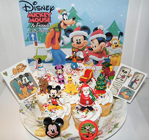 Mickey Mouse Clubhouse Christmas Holiday Deluxe Cake Toppers Cupcake Decorations Set of 14 with 10 Figures Featuring Santa Claus, Mickey and Friends and More!