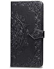 Oihxse Funda con LG K40S, Cuero PU Billetera Cierre Magnético Flip Libro Folio Tapa Carcasa Relieve Soporte Plegable Ranuras para Tarjetas Protección Caso(Negro)