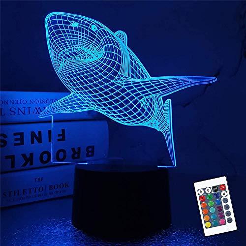 Lámpara 3D de Iluminación LED USB Tiburón 16 Cambio de Color LED del estado de ánimo de la Lámpara de Escritorio de la Mesa de la Luz de la Lámpara