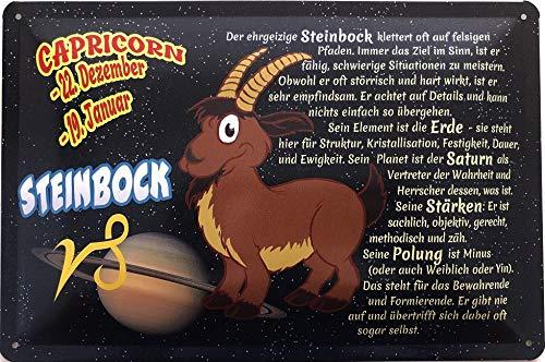 Deko7 blikken bord 30 x 20 cm Capricorn 22 december - 19 Jänner - sterrenbeeld steenbok