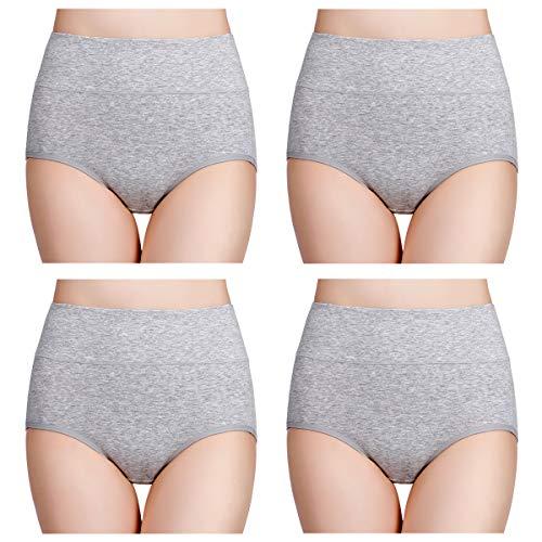 wirarpa Damen Unterhosen Baumwolle Slips Damen Hoher Taille Atmungsaktive Taillenslip Wochenbett Unterwäsche Mehrpack Größen 32-58, Grau, Medium (38/40)