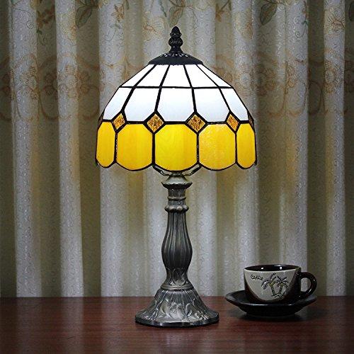 Gweat - Lámpara de mesa de estilo ámbar Tiffany, 8', estilo mediterráneo, lámpara de mesa, dormitorio (4 colores para elegir)