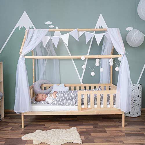 Alcube praktisches, Variables Hausbett 160x80 mit Rausfallschutz und Lattenrost in Natur Kinderbett 80 x 160 für Mädchen und Jungen…