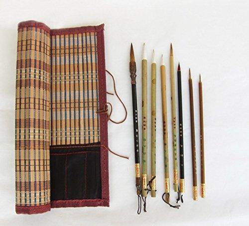 Set da 8 pezzi di pennelli artistici cinesi professionali,, 8 pcs with mat