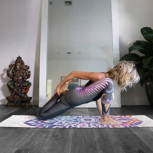 ヨガマットトレーニングマット曼荼羅インド風カラフル手描きおりたたみエクササイズマット厚さ5㎜軽量高密度室内外運動サイズ180cm×61cm収納ケース付き大判…