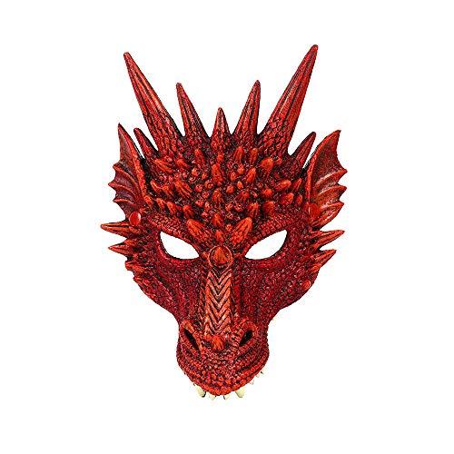 MH Mardi Gras Halloween Carnaval Fiesta PU Espuma 3D Animal Dragn Mscara de estilo chino Dragon Scary Scary Mask (rojo)