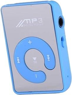 Homyl Mini Mirror Clip MP3 Player Portable Fashion Sport USB Digital Music Player for Micro SD TF Card Media Player - Blue