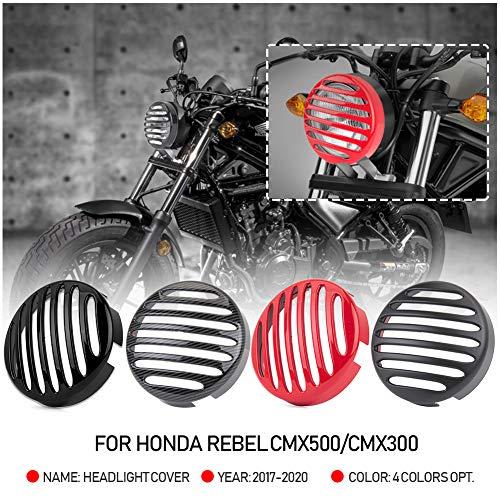 Motorrad CMX500 CMX300 Scheinwerferabdeckung Frontlicht Lampengrillschutz für 2017 2018 2019 2020 Hon-da Rebel CMX 500 300 Motorradzubehör Teile 17-20 (Kohlefaser-Look)