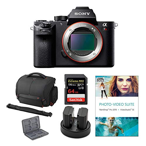 Sony Alpha a7R II 42.4MP Mirrorless Digital Camera (Body Only) Bundled with Corel Photo Software, Koah Power Kit, Carrying Case, 64GB SDXC Card, and Accessories (6 Items)