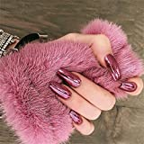MISUD Ballet Fake Nails Mirror Metalic Rose-Glod Reflective False Nails Ballerina Full Cover Press on Artificial Nail for Women and Girls