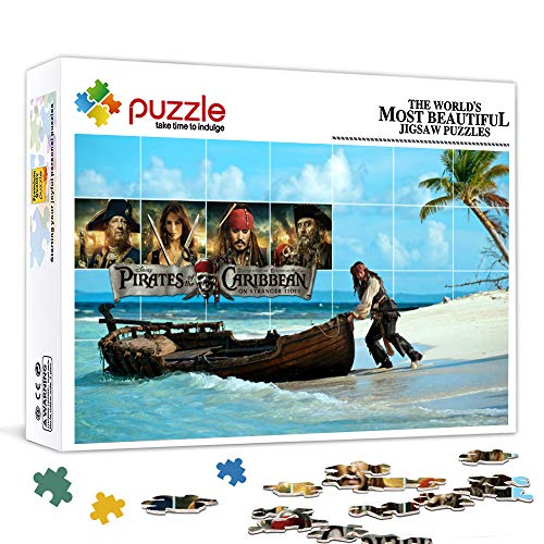 LLLTONG Jigsaw Puzzle 300 Pezzi Jigsaw Puzzles Pirati dei Caraibi: On Stranger Tides Poster del Film Jack Sparrow Puzzle 300 Pezzi 38x26 cm