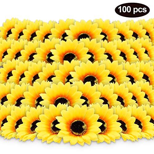 100pcs 3quot Artificial Silk Sunflower Heads Yellow Fabric Floral for Home Party Decoration Wedding Decor Bride Holding Flowers Centerpieces Wreath Garden Craft DIY Art Decor Classroom Crafts Decor