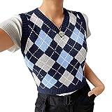 Women Streetwear Preppy Style Knitwear Tank Top V Neck Argyle Plaid Knitted Sweater Vest (Indigo/Blue/Grey-Checkered,Medium)