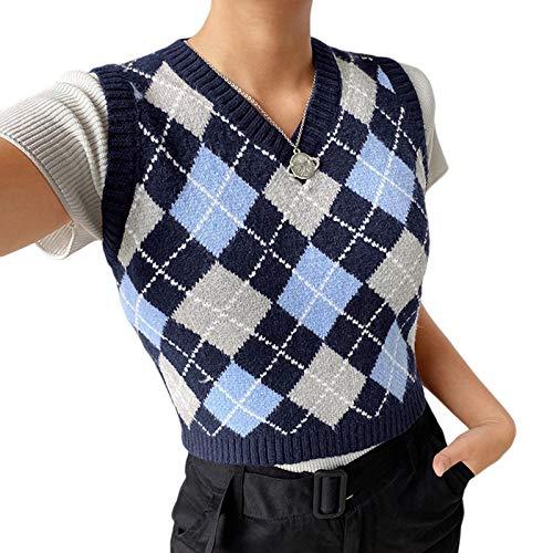 Damen Strickpullover, Straßenkleidung, adretter Stil, Strickwaren, V-Ausschnitt, Weste , Plaid/Blau, M