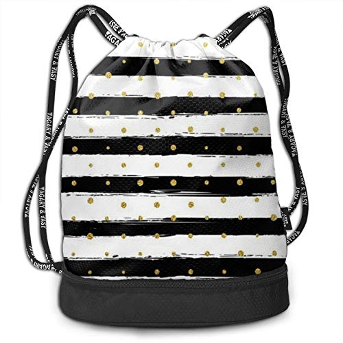 XCNGG Drawstring Backpack,Ink And Gold Dot Stripes Print Sport Travel Gym Bundle Backpack Bag