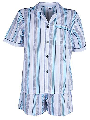 SOUNON Herren Batist Pyjama gestreift Hellblau - Kurz, Groesse: 52