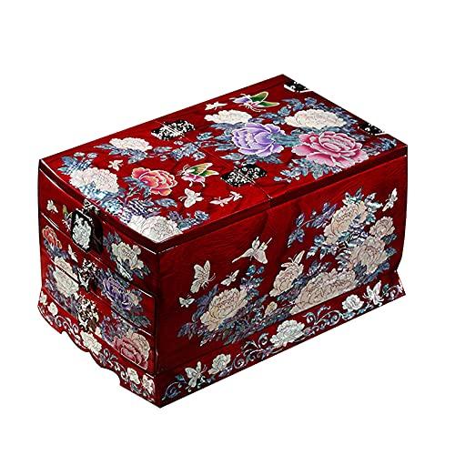 UGJ Caja Joyero Chino, Artesanías De Laca Pintada Colección Caja De Almacenamiento De Madera Organizador De Baratijas para Regalos De Cumpleaños De Las Mujeres