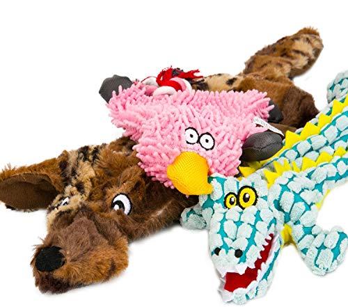 WEIZSTYLE Quietschspielzeug für Hunde, keine Füllung, Welpenspielzeug, langlebig, ohne Füllung, Plüschtier-Set für kleine, mittelgroße und große Hunde, brauner Wolf, Krokodil, Ente