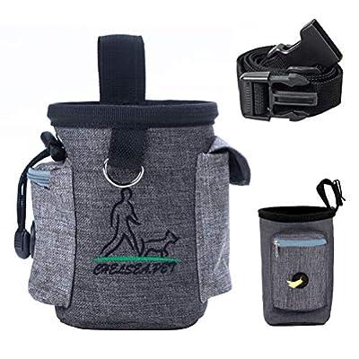 WIFUN Dog Treat Pouch, Dog Training Bag Dog Treat Bag Puppy Training Bag with Adjustable Waistband, Belt Clip, Pick-up Bag Dispenser