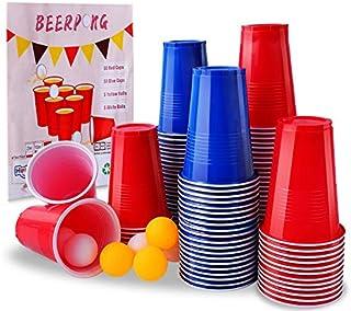 Herefun Jeux à Boire, Jeu de Bière Pong avec 100 Gobelet Réutilisable Rouges et Bleues (16 oz), 10 Balles, Beer Pong Tasse...