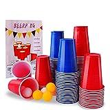 Herefun Jeux à Boire, Jeu de Bière Pong avec 100 Gobelet Réutilisable Rouges et Bleues (16 oz), 10 Balles, Beer Pong Tasses Set pour Fête de d'anniversaire Fournitures Noël Jeu