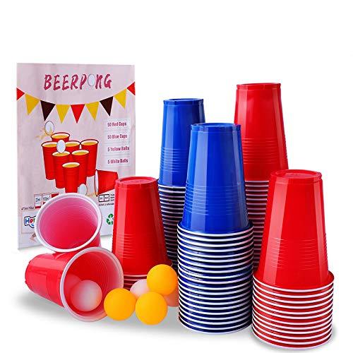 Herefun Beer Pong Becher Partybecher Set, 100 Bier Pong Cups Plastikbecher Trinkbecher, Rot und Blau Trinkspiel mit 10 Bällen (16 oz), Wiederverwendbar Camping Bier Weihnachten Geburtstag