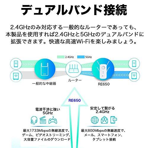 TP-LinkWIFI無線LAN中継器11ac/n/a/g/b1733+800MbpsビームフォーミングMU-MIMOAPモード3年保証RE650