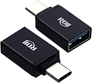 USB C Dongle, RDII USB C to USB Adapter for Data Transfer for MacBook Pro and Type C Laptop Computer, PC, Tablets, Smartphone Connecting with SanDisk or USB Cables (Aluminum, Black, Pack of 2 pcs)