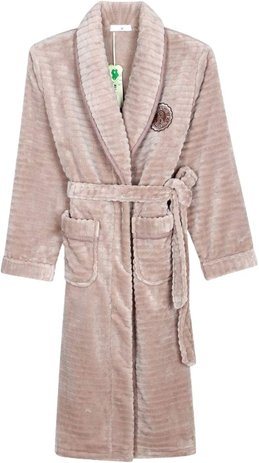 Bathrobe Terry,Medium and Long Section, Thick Coral Fleece to Keep Warm, Home Bathrobe Sweet Couple (color   B, Size   M)