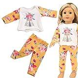 Dinglong Design élégant avec des Couleurs Vives Beaux vêtements de Pyjama pour Le Jouet de Fille d'accessoire de Fille de 18 Pouces américain (Jaune)