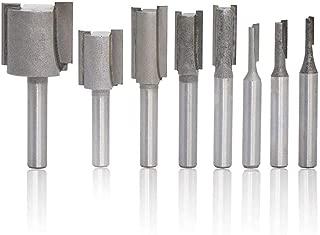 Eyech 8pc 1/4 inch shank Carbide Straight Dado Router Bit Set Wood Milling Cutter wood working Tool -Gray