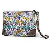 Ahdyr Jungle AnimalLeather Wristlet Clutch Bag Bolsos de mano con cremallera Monederos para mujer Carteras de teléfono con ranuras para tarjetas de correa