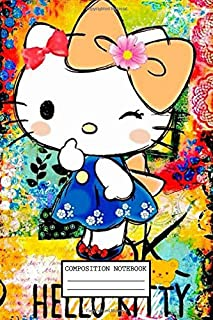 Composition Notebook: Hello Kitty Drawing Wide Ruled Blank Lined Themed Journal Paper 7.44 x 9.69 Inches 110 Pages