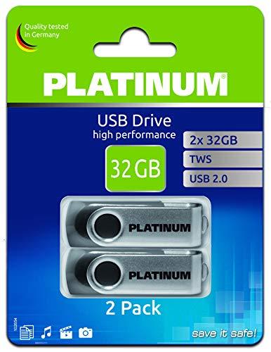 Platinum TWS USB-Stick 32 GB Doppel-Pack USB 2.0 USB-Flash-Laufwerk - 2er Pack Speicher-Stick in schwarz-Silber inkl. Öse zur Befestigung am Schlüsselanhänger