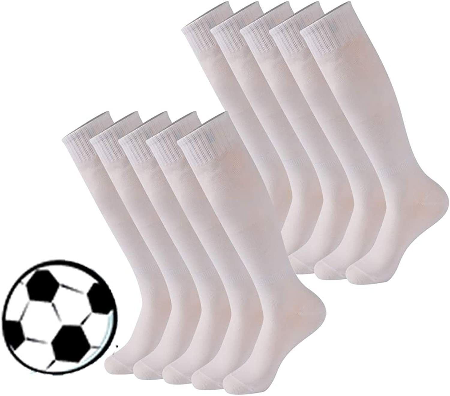 Calbom Soccer Socks, Unisex Knee High Football Cheerleading Tube Sock 2 6 10 Pairs