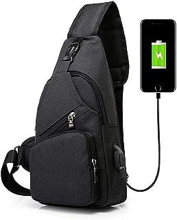 ELEPHANTBOAT® Sports Single Shoulder Bag wtih USB Charging Port, Lightweight Sling Bag for Men and Women, Hiking Cycling (...
