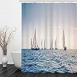 BLZQA Duschvorhang Badewannenvorhang Duschvorhänge Schimmelresistenter & Wasserabweisend Shower Curtain mit 12 Duschvorhangringen 180 x 180 cm (Seesegeln)