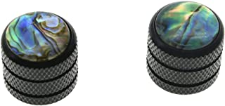 KAISH 2pcs Black Push on Fit Abalone Top Guitar Dome Knobs or Bass Knob for Tele Telecaster