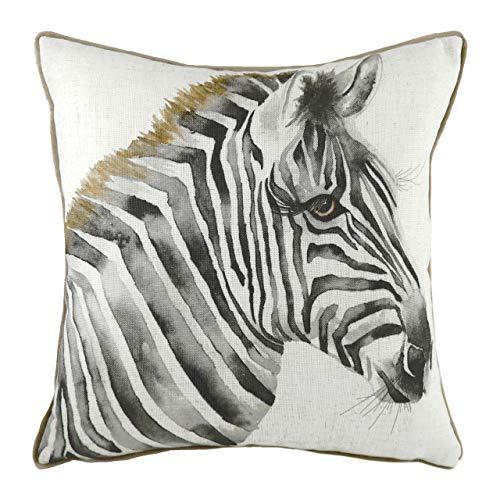 Evans Lichfield Safari Zebra Cuscino imbottito in poliestere, bianco, 43 x 43 cm