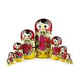 Muñecas Rusas, 10 Matrioskas Rojas de Estilo Semiónov Clásico...