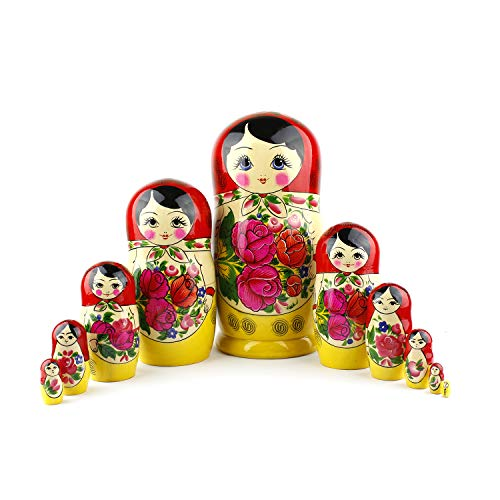 Muñecas Rusas, 10 Matrioskas Rojas de Estilo Semiónov Clásico | Muñeca Babushka de Madera Hecha a Mano en Rusia | Semiónov Rojo, 10 Piezas, 25 cm