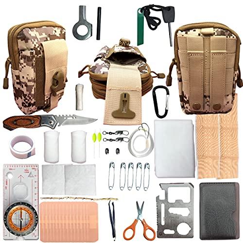 Kit de survie militaire complet portable, trousse de premiers secours pour les urgences, les soins, la randonnée, chasse, camping, kit voyage bivy. Sac d'urgence survival extérieur. Poche multi outils