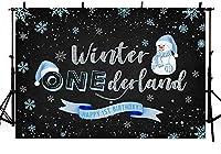 Wbwボーイスノーマン冬のワンダーランド写真の背景プリンスベイビーブルーシルバースノーフレーク冬のワンダーランドハッピー1歳の誕生日パーティーの装飾黒の写真スタジオの背景バナー7x5ft