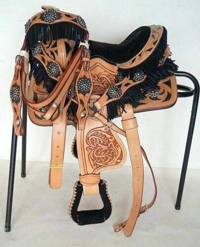 Blue Lake Premium Leather Western Barrel Racing Horse Saddle with Complete Accessories. (14'' Inch Seat)