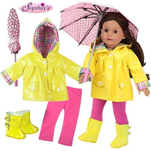 18 Inch Doll Raincoat 4Pc. Set Fits 18 Inch American Girl Doll Clothes & More! Doll Rain Gear of Yellow Rain Jacket, Doll Boots, Pink Leggings and Umbrella